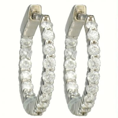 15 DIAMOND HUGGIE EARRING HOOPS 1.00CT