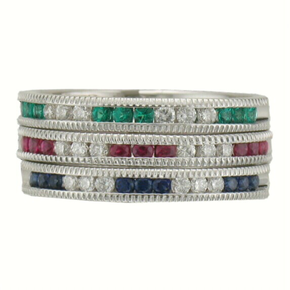Stackable Channel Set Birthstone rings 14k white gold