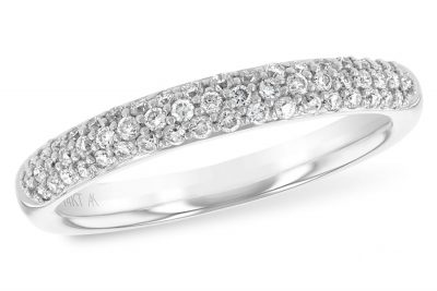 Pave 3 row band with .33ct of Diamonds, GH SI2, 14k white gold