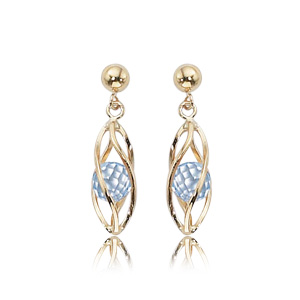 14k Yellow Gold Post Earrings with Round 3.9mm Gold Ball Above Swirled Cage with Faceted Blue Topaz Bead Floating inside Cage
