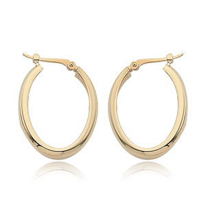 14k Yellow Gold Small High Polish Oval Hoop Earrings
