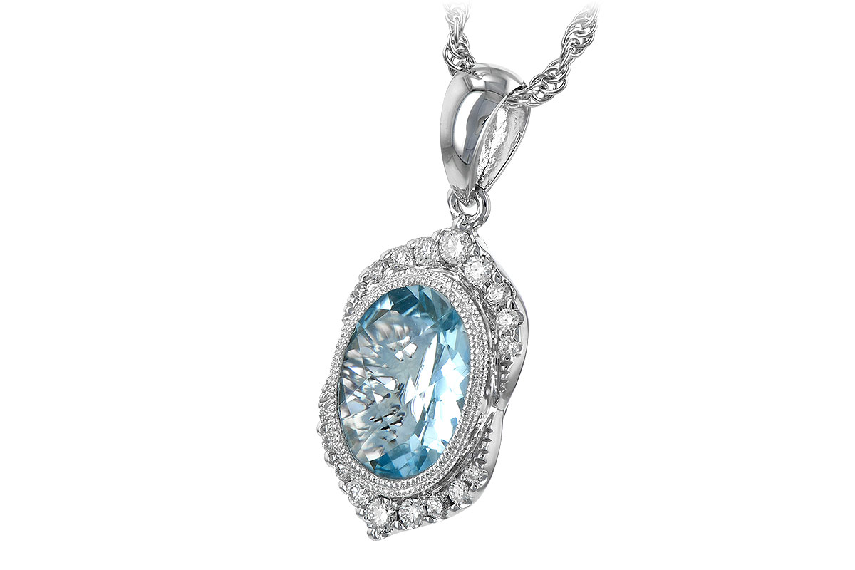 p aquamarine diamond pendant with oval shop halo vintage aqua women marine