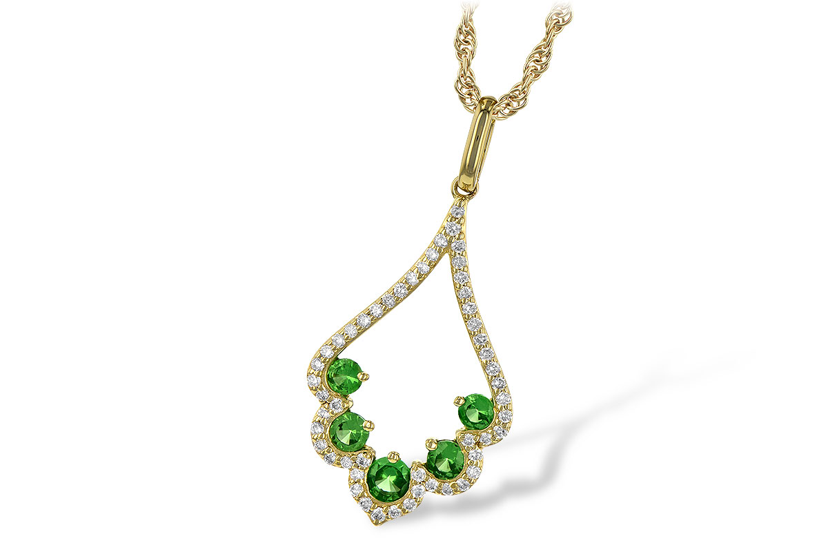 Open Scalloped design pendant with 5 round tsavorite and lined with round accenting diamonds, diamonds totaling .21ct G SI2 and tsavorite totaling .34ct, 18 inch rope chain with lobster clasp, 14k yellow gold
