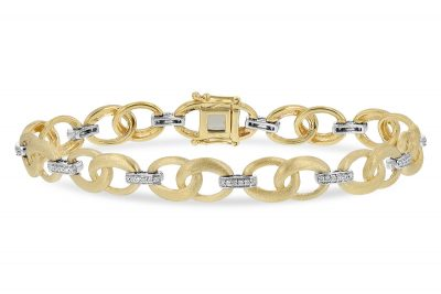 14k Yellow Gold bracelet with satin finish double open links each connected with straight 14k white gold link each with 6 round accenting diamonds all totaling .24ct G Color, SI1/SI2 clarity