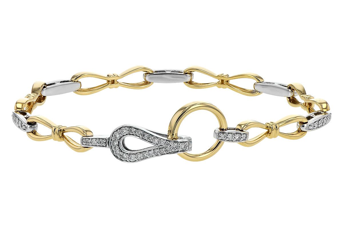14k Two Tone Bracelet with figure 8 high polish yellow gold links pinched in center with fluted cuffs, Bowed bars of white gold links with brilliant white accenting diamonds connect each figure 8 link. A foldover latching loop clasp provides a focal point to add interest. The diamonds total .60ct, HI Color, I1 clarity.