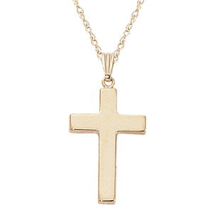 Medium Polished Flat puffed cross, 14k yellow gold 21x14 millimeters and 1.9mm in thickness on and 18 inch fine rope chain with spring ring clasp
