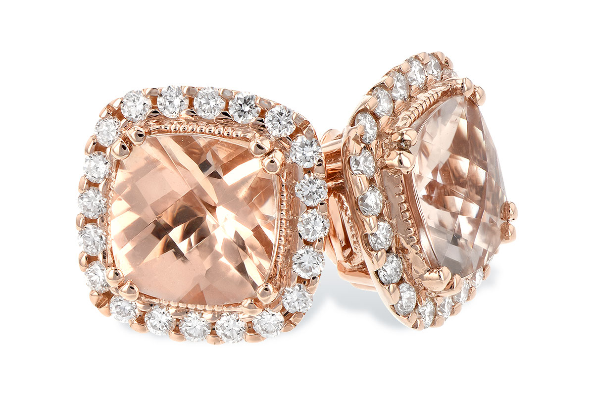14k Rose Gold morganite earrings with cushion cut Morganite totalling 1.62ct surrounded by round accenting G SI1/2 diamonds totaling .26ct