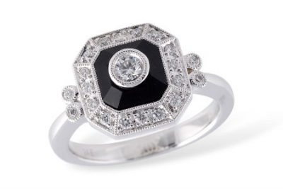 14k White Gold Antique Style Square Shape Onyx Ring with Round Bezel Set GH SI1 .10ct Diamond in the Center and Round Accenting diamonds Surrounding the Square Onyx totaling .20ct and all GH SI1