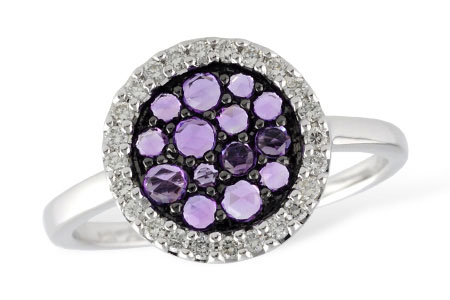Round cluster ring with cluster of round rose cut amethyst in the center surrounded by halo of round accenting diamonds totaling .17ct, GH SI2, 14k white gold