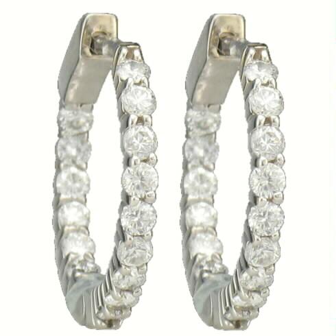 15 DIAMOND HUGGIE EARRING HOOPS 1.00CT