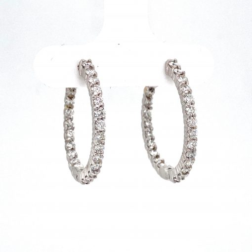 1.50ct Diamond inside and outside hoop earrings, GH Color, SI3 Clarity, round diamonds set in shared prongs 14k white gold