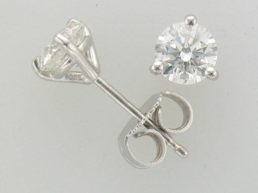1.00ct TOTAL DIAMOND STUD 3 PRONG EARRINGS A QUALITY