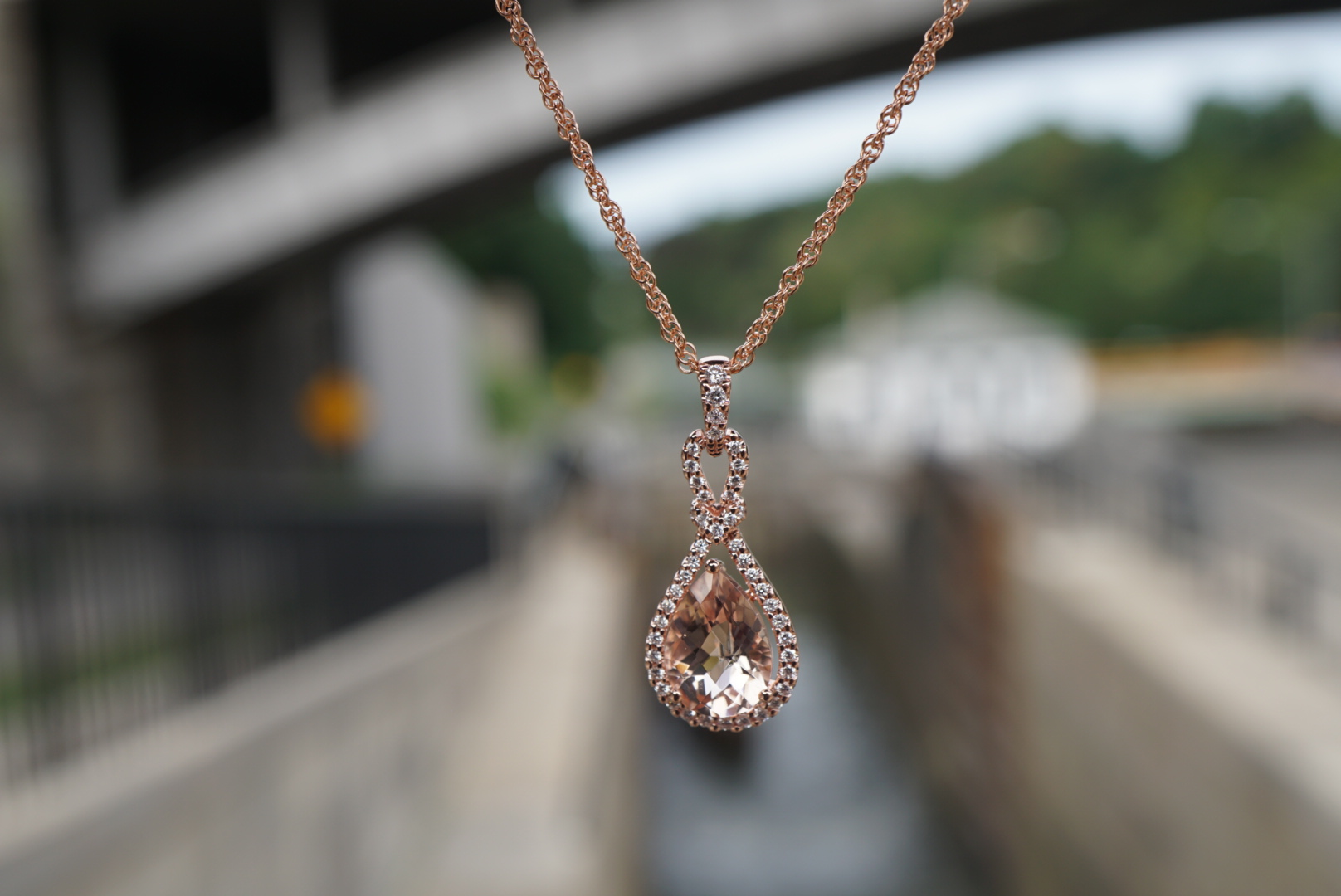 Morganite Pear Pendant in Rose Gold with diamonds
