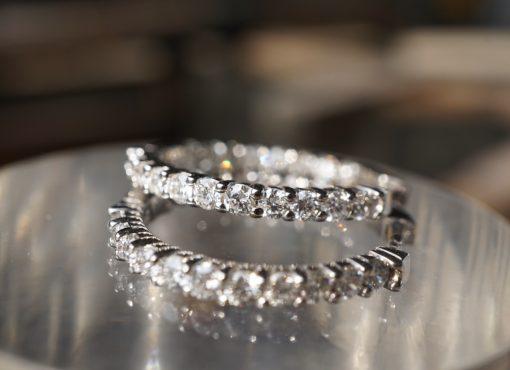 2ct 19 diamond huggie hoop earrings