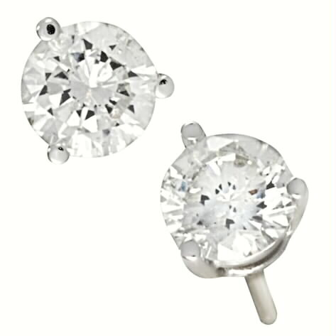 DIAMOND STUD 3 PRONG EARRINGS A QUALITY