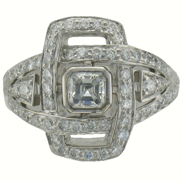 Consignment R with Center .51ct Asscher Cut Diamond with 61 Accenting Diamonds