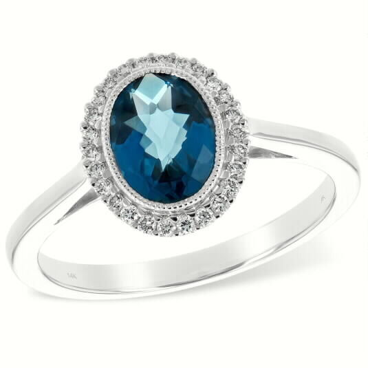 1.27ct Oval London Blue Topaz ring with .15ct Round accenting diamonds GH SI2 surrounding the center, 14k White gold