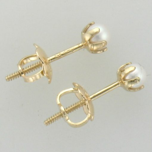 side view 3mm Pearl in pronged setting, 14k yellow gold with screw posts Baby/Youth