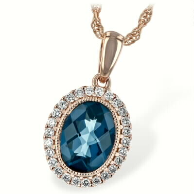 Rose gold Pendant with London Blue Topaz Oval with a Halo of Diamonds and Vintage Accent