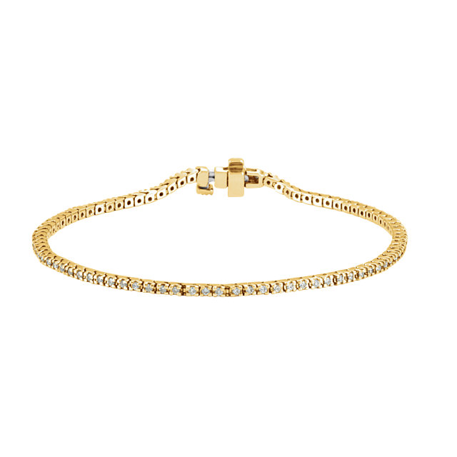 1.00ct total Diamond Line Bracelet 85 diamonds 14k yellow gold G-H color, I1 clarity 7.52 grams 7.25 inch length