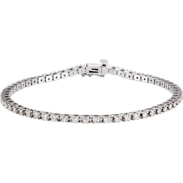 2.25ct total 56 Diamond Line Bracelet I1clarity G-H color 14k gold 16.32g 7.25 inch length