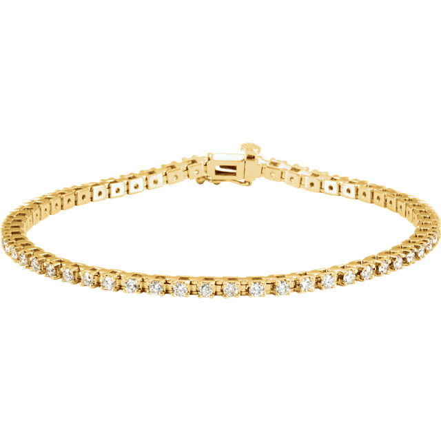 2.25ct total 56 Diamond Line Bracelet I1 clarity G-H color 14k yellow gold 16.32g 7.25 inch length