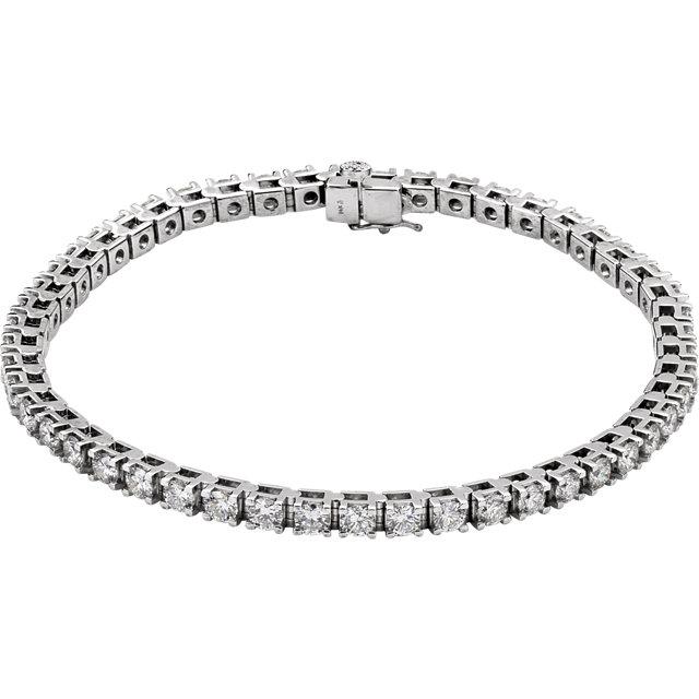 4 1/2 ct total Diamond Line Bracelet with 50 diamonds I1 clarity, G-H color 7.25 inch 14k gold 21.13 grams