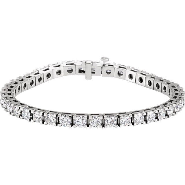 9-1/3ct total Diamond Line Bracelet with 39 diamonds I1 clarity, G-H color 14k gold weighing 18.9 grams 7.25 inch length