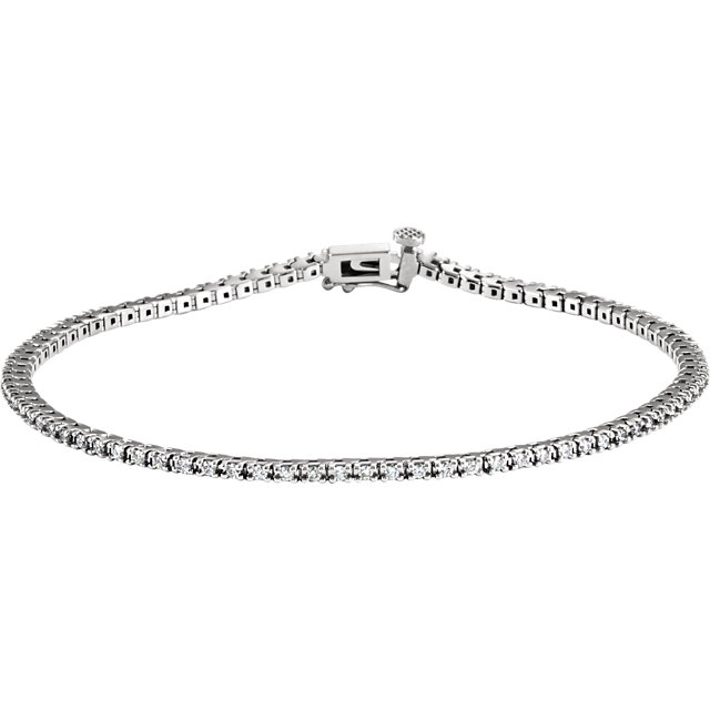 1.00ct total Diamond Line Bracelet 85 diamonds 14k gold G-H color, I1 clarity 7.52 grams 7.25 inch length
