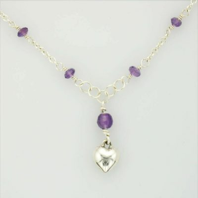 Kids sterling silver puffed heart necklace with 7 Amethyst beads