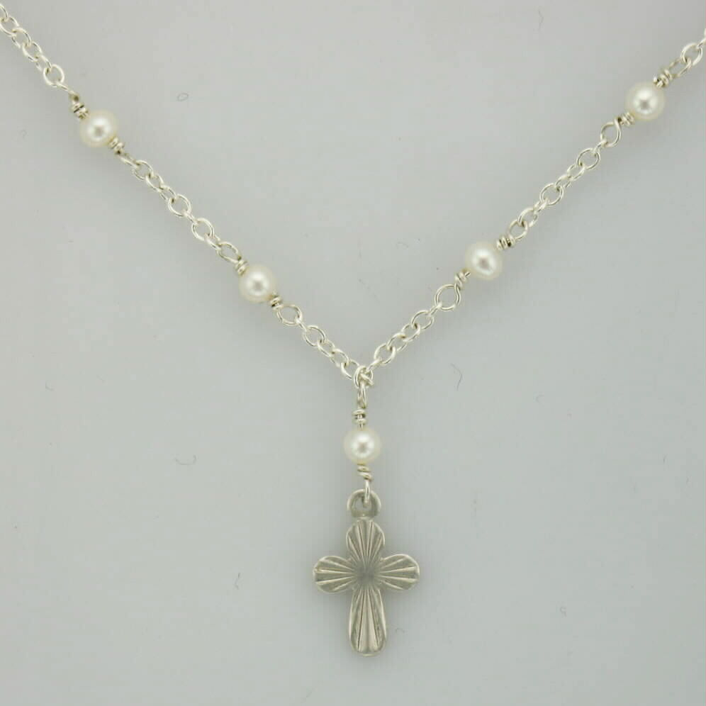 Sterling Silver cross necklace for kids with 7 freshwater pearls