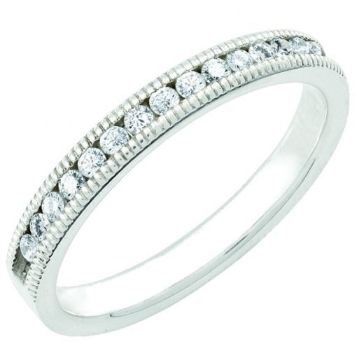 April Stackable 14k white birthstone ring with diamonds