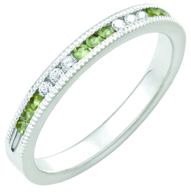 August Peridot Stackable 14k white gold ring