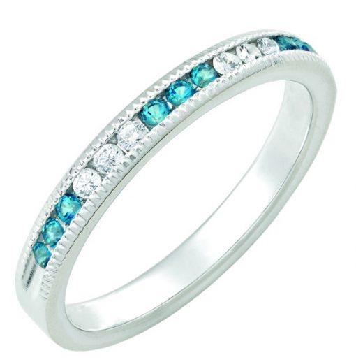 December Blue Topaz Stackable 14k white gold ring