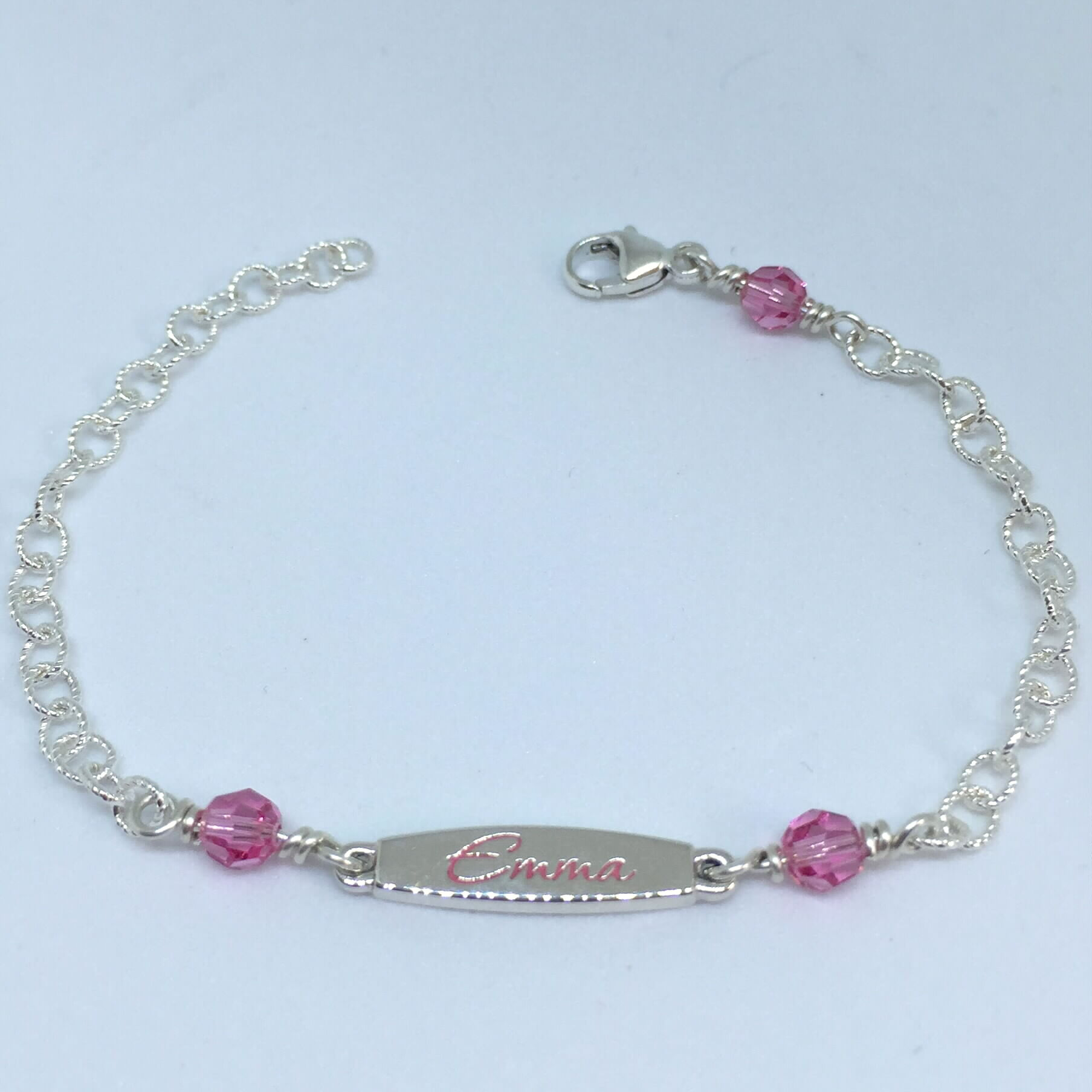 Kids ID bracelet with Swarovski Crystal