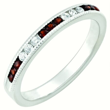 January Garnet 14k white gold stackable channel set ring
