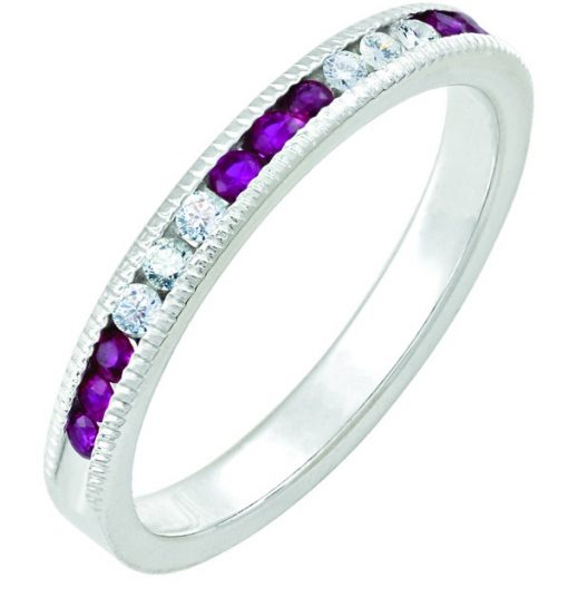July Ruby Stackable 14k white gold ring