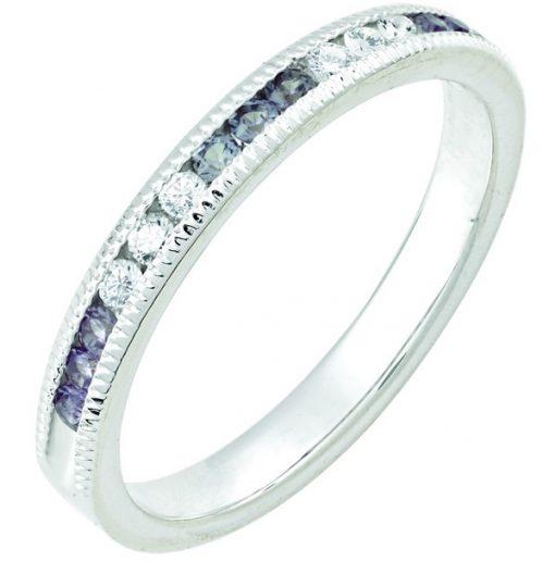 June Alexandrite Stackable 14k white gold ring