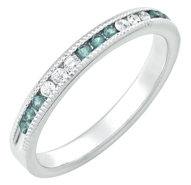 March Stackable 14k white birthstone ring with diamonds