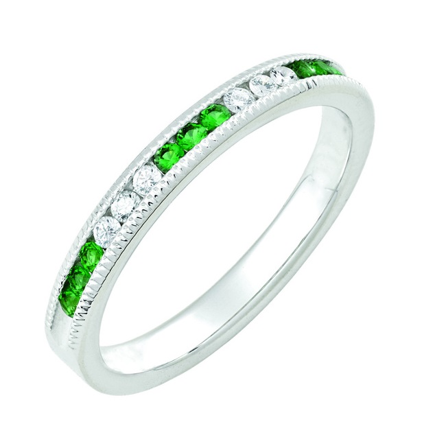May Emerald Stackable 14k white gold ring