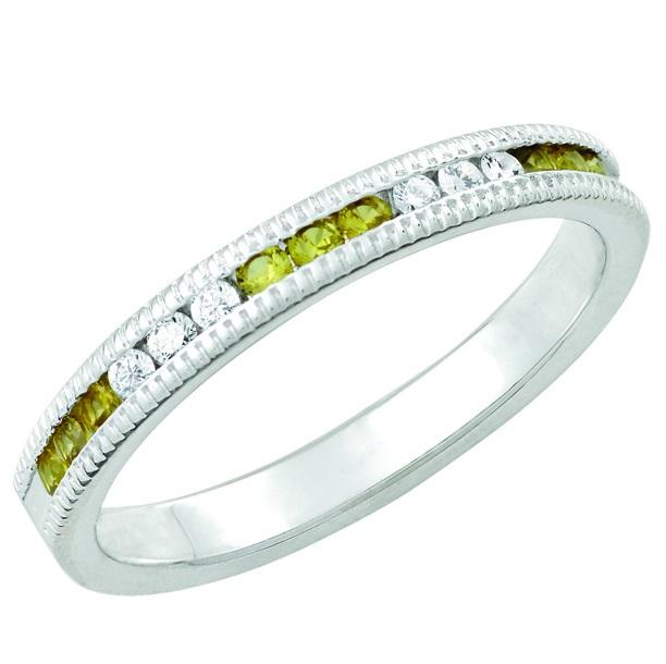 November Citrine Stackable 14k white gold ring
