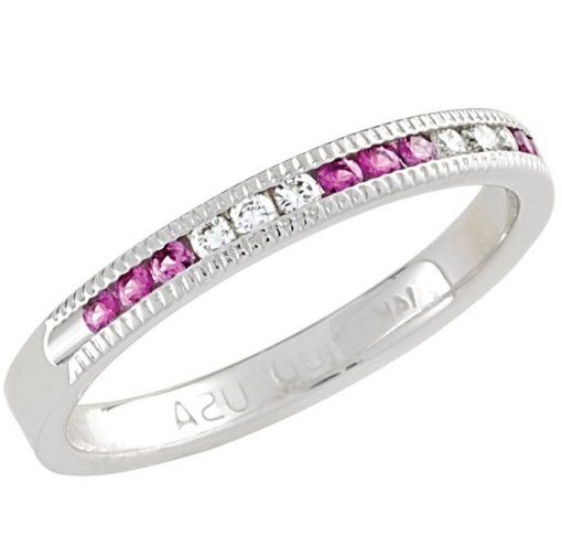 October Pink Tourmaline Stackable 14k white gold ring