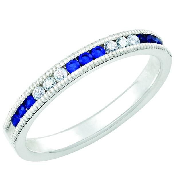 September Sapphire Stackable 14k white gold ring