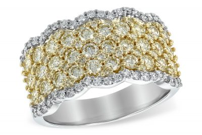Natural Yellow Diamond Pave Set Ring with white diamond border