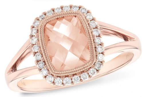 Cushion Checkerboard cut Morganite Halo style ring with 1.18ct Morganite in the center surrounded by .16ct G SI1/2 diamonds, 14k Rose Gold