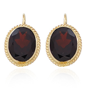 8x10mm Oval rope framed Garnet leverback earrings, 14k yellow gold