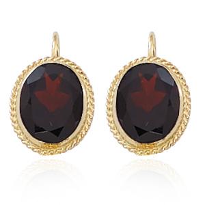 8x10mm Oval rope framed Garnet leverback earrings, 14k yellow gold