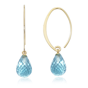 Simple Sweep Hoop Earring With Blue Topaz Briolette