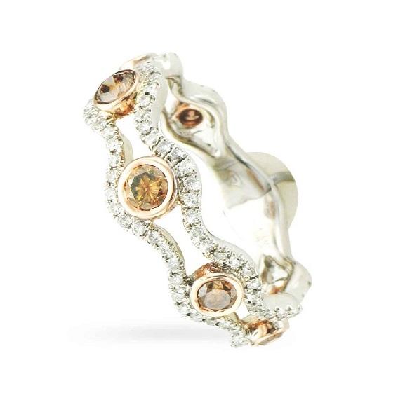 7 Brown Diamonds ring white diamond border Mills Jewelers
