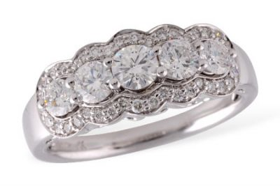Vintage style ring with 5 round diamonds set across the center and framed with multiple diamonds surrounding diamonds in the center, G Color, SI3 clarity, 1.00ct, 14k white gold